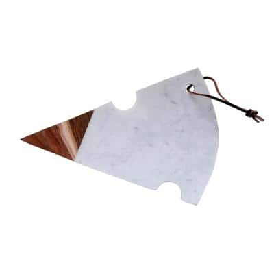 Marble and Acacia Wood Cutting Board with Cheese Slice Shape