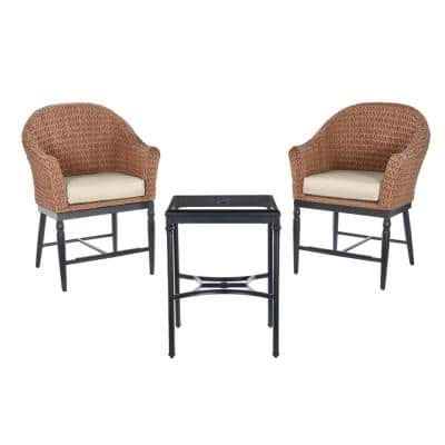 Camden Seagrass Light Brown 3-Piece Wicker Outdoor Patio Balcony Height Bistro Set with CushionGuard Putty Tan Cushions