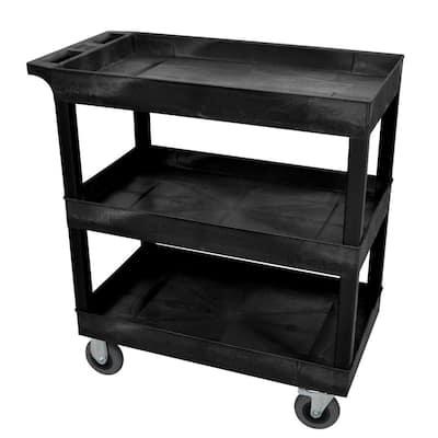 18 in. x 32 in. 3-Tub Shelf Plastic Utility Cart with 5 in. Semi-Pneumatic Casters, Black
