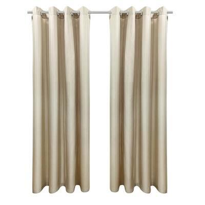 Seascapes 50 in. W x 108 in. L Light Filtering Grommet Indoor/Outdoor Curtain Panel Pair in Linen