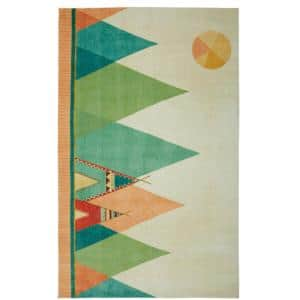 Southwest Teepee Multi 5 ft. x 8 ft. Contemporary Area Rug