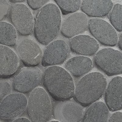 Countryside Sliced Round 11.81 in. x 11.81 in. Black Lava Floor and Wall Mosaic (0.97 sq. ft. / sheet)