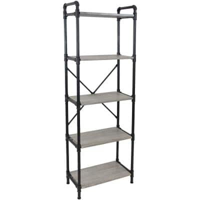 71 in. Oak Gray 5-Shelf Standard Bookcase with Black Pipe