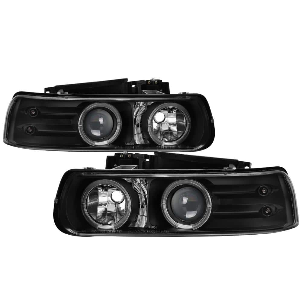 FOR 03-06 CHEVY SILVERADO HALO LED BLACK PROJECTOR HEADLIGHT LAMP W//BLUE DRL+HID