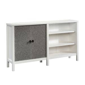 58 in. Soft White Standard Rectangle Composite Console Table with Drawers