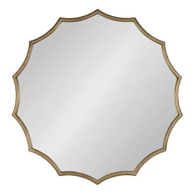 Medium Round Gold Contemporary Mirror (32.75 in. H x 34 in. W)