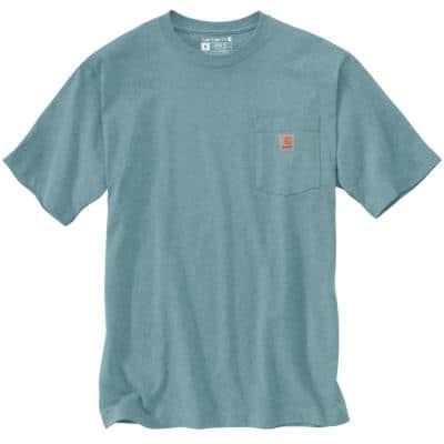 Men's X-Large Tourmaline Heather Cotton/Polyester K87 M Loose Fit Heavy Weight Short Sleeve Pocket T-Shirt