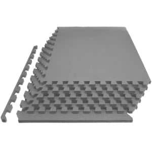 Extra Thick Exercise Puzzle Mat Grey 24 in. x 24 in. x 1 in. EVA Foam Interlocking Anti-Fatigue (6-pack) (24 sq. ft.)