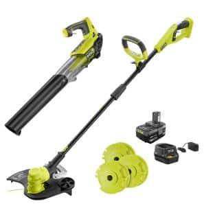 ONE+ 18-Volt Cordless String Trimmer/Edger and Blower with Extra 3-Pack of Spools Combo Kit, 4.0 Ah Battery/Charger