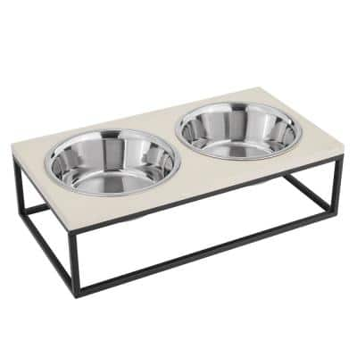 Dan Double Wood and Stainless Steel Pet Bowl