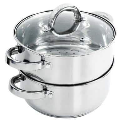 Hali 3 qt. Stainless Steel Stovetop Steamers with Glass Lid