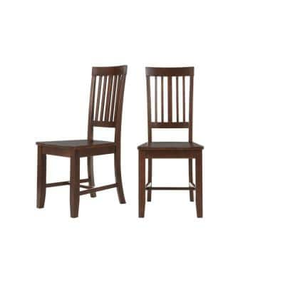 Scottsbury Chocolate Wood Dining Chair with Slat Back (Set of 2) (16.7 in. W x 38.7 in. H)