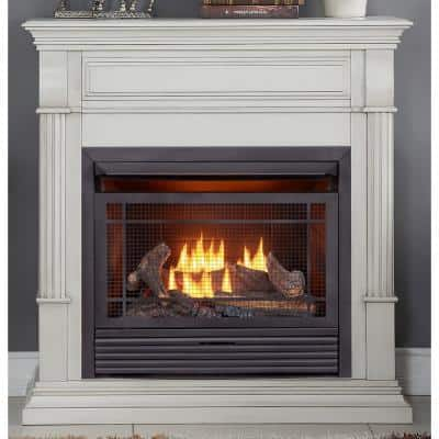 Duluth Forge Dual Fuel Ventless Gas Fireplace - 26,000 BTU, Remote Control, Antique White Finish