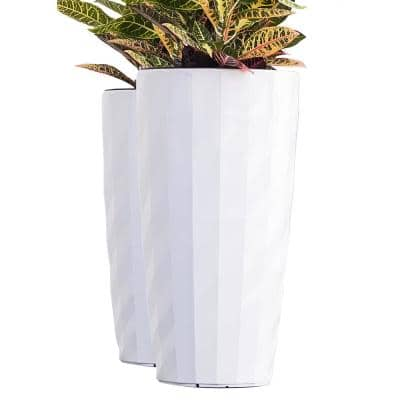 Xbrand 30 in. Tall White Plastic Nested Self Watering Indoor/Outdoor Diamond Look Round Planter Pot (Set of 2)