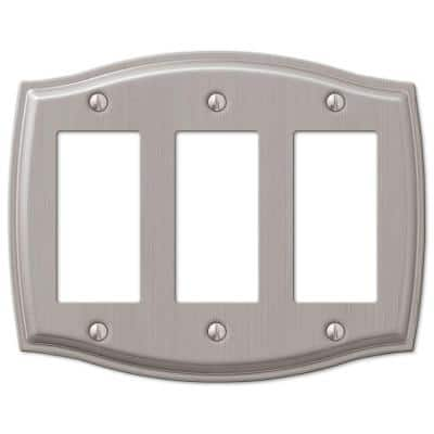 Vineyard 3 Gang Rocker Steel Wall Plate - Brushed Nickel
