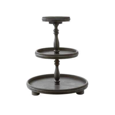 Black Tiered Wooden Display Stand
