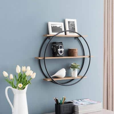 Round 4 in. x 24 in. x 20 in. Brown Wood and Iron Floating 3-Tier Decorative Wall Shelf
