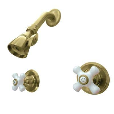 Victorian 2-Handle 1-Spray Shower Faucet in Brushed Brass (Valve Included)
