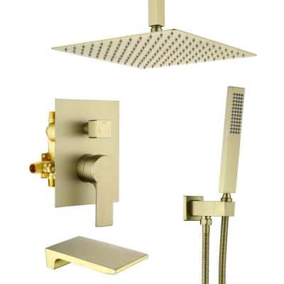Ceiling Mount Single-Handle 1-Spray Tub and Shower Faucet with 12 in. Fixed shower head in Brushed Gold (Valve Included)