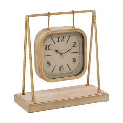 Gold Farmhouse Wood Analog Clock