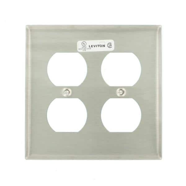 Leviton Stainless Steel 2 Gang Duplex Outlet Wall Plate 1 Pack 84016 40 The Home Depot