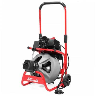 80 ft. x 1/2 in. Electric Snake Drain Cleaner Machine with 3 Cutter and Auger Drill