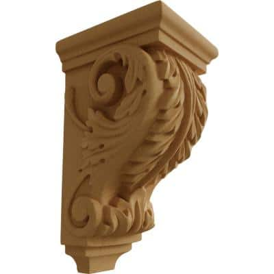4 in. x 3-1/2 in. x 7 in. Unfinished Wood Alder Small Acanthus Wood Corbel