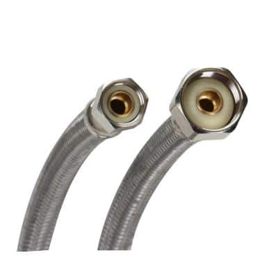Universal Stainless Steel Faucet Connector 1/2 in. FIP x 1/2 in. FIP x 20 in. Length with Comp. Size Adaptors