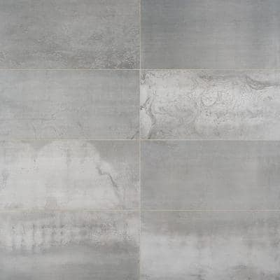 Hempstead Silver 11.61 in. x 23.62 Matte Porcelain Floor and Wall Tile (9.68 sq. ft./Case)