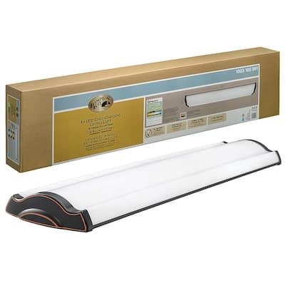 4 ft. Vintage Inspired Oil Rubbed Bronze Selectable LED Flush Mount Ceiling Light 3600 Lumens 3000K 4000K 5000K
