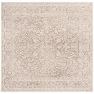 Reflection Beige/Cream 7 ft. x 7 ft. Square Floral Distressed Area Rug