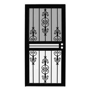 36 in. x 80 in. Estate Black Recessed Mount All Season Security Door with Insect Screen and Glass Inserts