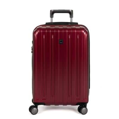 Titanium Red Expandable Carry On Spinner Rolling Luggage Suitcase