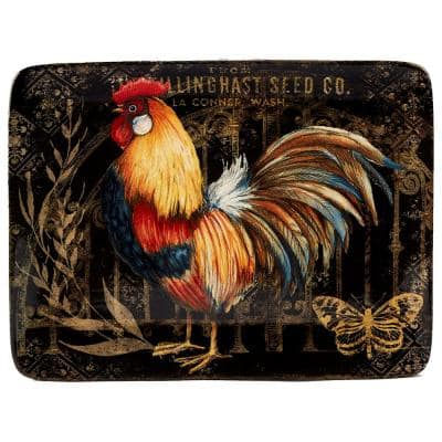 Gilded Rooster Multi-Colored 16 in. x 12 in. Ceramic Rectangular Platter