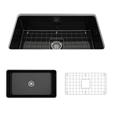 Sotto Undermount Fireclay 32 in. Single Bowl Kitchen Sink with Bottom Grid and Strainer in Black
