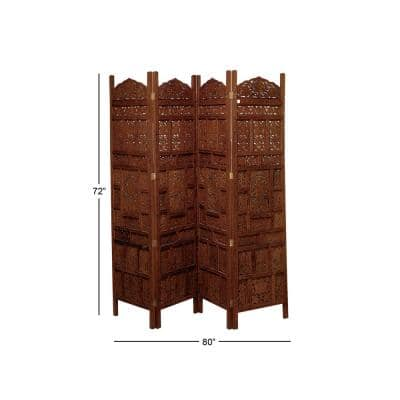 6 ft. Rosewood Brown 4-Panel Hinged Room Divider