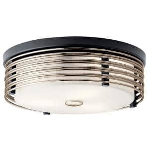 Bensimone 15.25 in. 2-Light Black Flush Mount Ceiling Light with Satin Etched Cased Opal