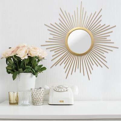 Medium Round Gold Contemporary Mirror (20 in. H x 20 in. W)