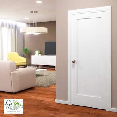 30 in. x 80 in. x 1-3/8 in. Shaker White Primed 1-Panel Solid Core Wood Interior Slab Door