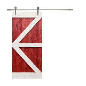 Pre Assemble Series 36 in. x 84 in. Red and White Stained Wood Interior Sliding Barn Door With Hardware Kit