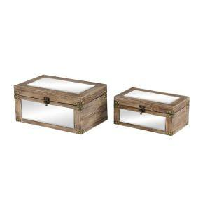 """Rectangular Wood and Mirror Decorative Boxes with Brass Bolts & Swing Latches, Set of 2: 12"""" x 6"""", 9.5"""" x 4.5"""""""