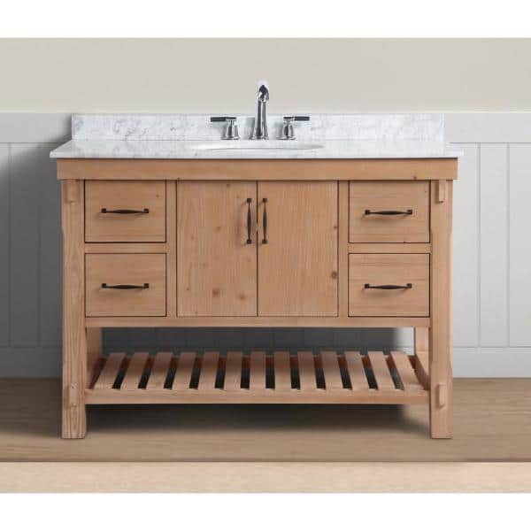Ari Kitchen And Bath Marina 48 In Single Bath Vanity In Driftwood With Marble Vanity Top In Carrara White With White Basin Akb Marina 48dw The Home Depot