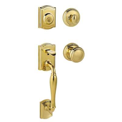 Prestige Wesley Single Cylinder Lifetime Polished Brass Door Handleset with Alcott Door Knob Featuring SmartKey Security