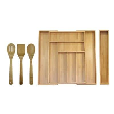 18 in. x 12.75 in. x 2 in. Bamboo Expandable Drawer Utensil Organizer Set (5-Piece)