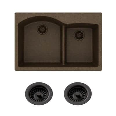 Quartz Classic Drop-in Composite 33 in. Double Bowl Kitchen Sink in Mocha with Color Match Drain
