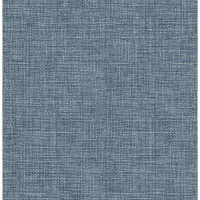 Cobalt Warp and Weft Self Adhesive Strippable Wallpaper Covers 30.75 sq. ft.