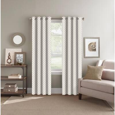 Beige Geometric Polyester 52 in. W x 84 in. L Grommet Room Darkening Curtain Panel