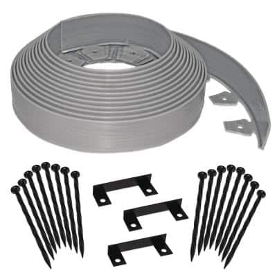 Tall Wall 60 ft. x 2.5 in. Gray Plastic No-Dig Landscape Edging Kit