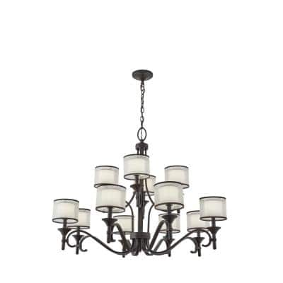 Lacey 12-Light Mission Bronze 3 Tier Chandelier with White Etched Glass Shade