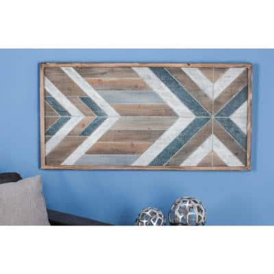 46 in. x 23 in. Rustic Blue and Brown Geometrical Wooden Wall Panel